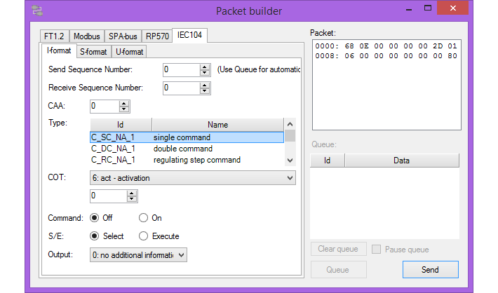 Packet builder IEC 60870-5-104